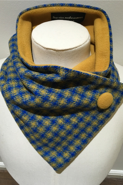 Blue Gold Check Pure Wool Unfringed Neckwarmer