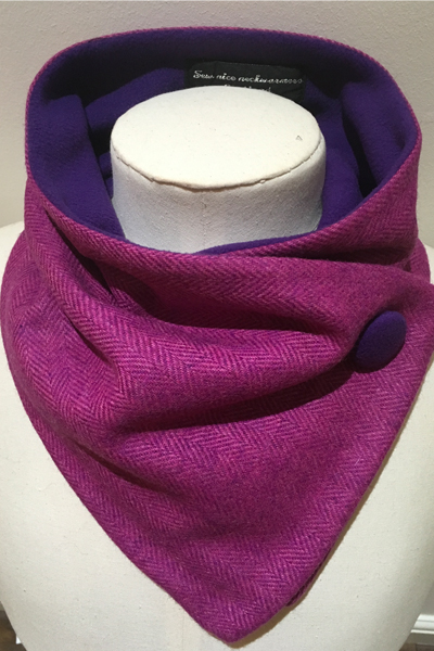 Fuchsia Purple Herringbone Pure Wool Unfringed Neckwarmer