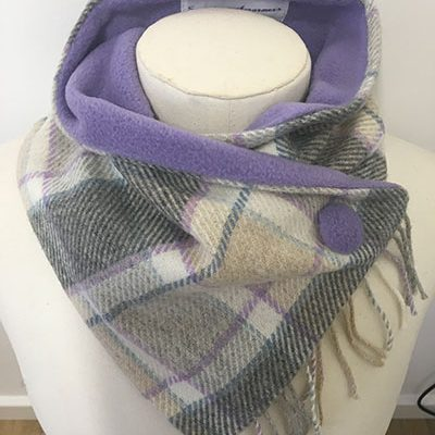 Mauve_grey_mix fringed neck warmer
