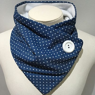 Polyester mix lightweight neckwarmer Denim small dots