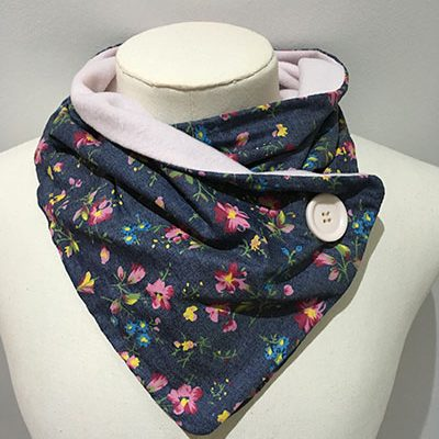 Polyester mix lightweight neckwarmer Denim floral