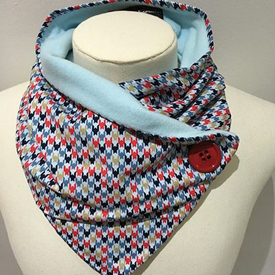 Polyester mix lightweight neckwarmer Brights dogtooth