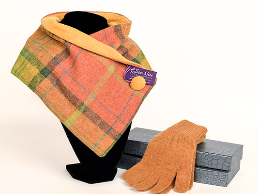 Pure wool tweed neck warmer in orange mix with matching boxed gloves